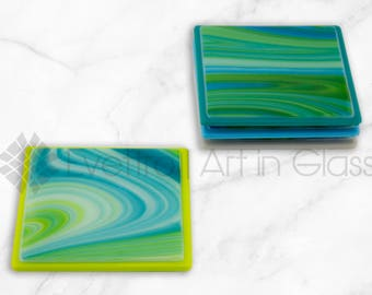 Solid Swirled Green Coasters, Set of 4