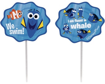 24 Finding Dory Party Favor Toppers/Cupcake Toppers/Cupcake Picks/Finding Dory