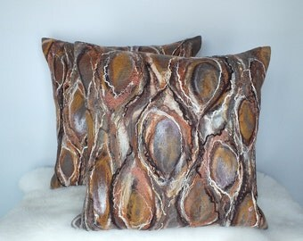 Brown Felted Cushion Covers, Set of 2 Felt Pillow Covers, Brown Nuno Felt Cushions