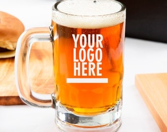 Personalized Corporate Gifts Beer Mug with Company Logo - Christmas Gift for Employees - Cool Gift for Boss - Coworker Gifts - SHIPS FAST