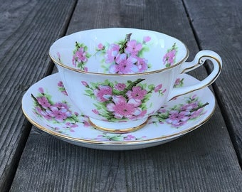 Royal Chelsea Pink Peach Blossom Cup Saucer Set Bone China England Pink Dogwood Flowers Floral Tea Party
