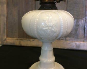 Antique/Vintage Scovill Queen Anne White Milk Glass Kerosene/Oil Lamp
