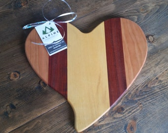 Heart Cutting Board Cheese Board Exotic Woods Hand Carved