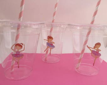 Ballet Cups with Lids and Straws: Ballet Plastic Drink Cups, Ballet Party Supplies