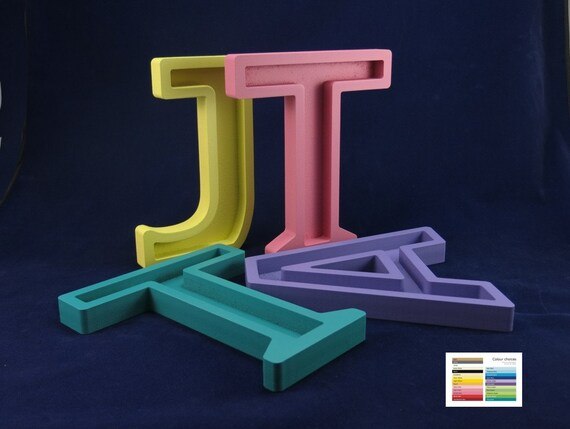 Recessed wooden letters free standing 20cm 8 tall for Standing wood letters to paint