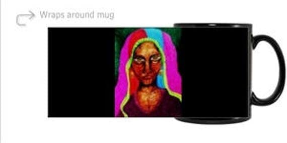 Ceramic Mug, from my original 2015 painting, ZULFIZAR, 2 backgrounds, by Artist Stacey Torres