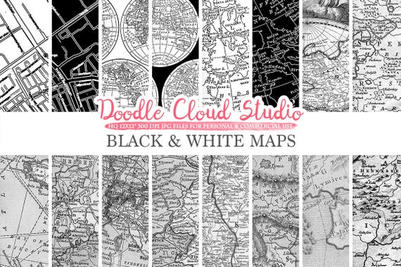Black and white maps digital paper vintage old world map city map il570xn gumiabroncs Choice Image