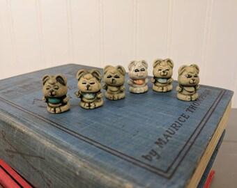 "6 Vintage Mini Old Crow 2 Stonewear 1"" Bears, Mini Stonewear Figurines, Animal Figurines, Party Favors, Craft Supplies"