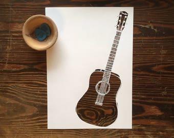 Guitar PAPER CUT A4 {gift for guitar player, guitarist gift, guitar lover, gift for musician, guitar gift, guitar present, guitar poster}