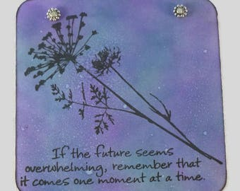 Dandelion wall art, inspirational quote, positive affirmations hand painted, nature decor, home decor, mini wall hanging, boho,  bohemian.
