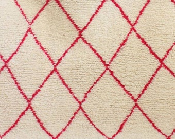 Custom, made to order Moroccan Beni Ourain wool rug - argyle pattern in pink - fair-trade, made by a Women's Co-operative in Morocco