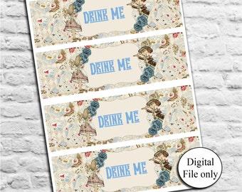 Alice in Wonderland Bottle Labels - Digital, Printable,Party