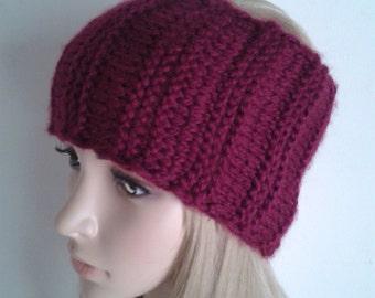 Women's ear warmers, hand knitted ear warmers winter headband, burgundy red / plum color headband.