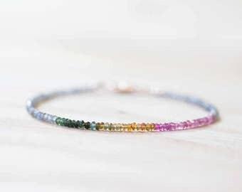 Labradorite & Tourmaline Bracelet, Delicate Rose Gold Fill or Sterling Silver Skinny Bracelet, Labradorite Bracelet, Multi Color Tourmaline
