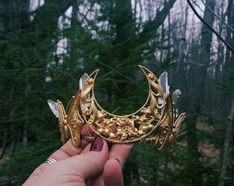Madame Butterfly Goddess Crown made with quartz