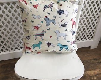 Handmade cushion cover cream with coloured dogs