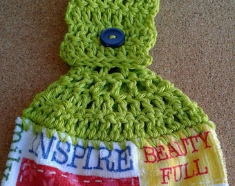 Lime Green Crochet Top with Inspire Dream Hope Grow  Hanging Dish Kitchen Towel