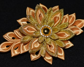 Handmade Girl's/Ladies CHRISTMAS French Barrette Hair Clip, Kanzashi, Gold, FREE UK Delivery