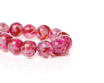 100 glass beads Rose with tasks 8mm fantasy
