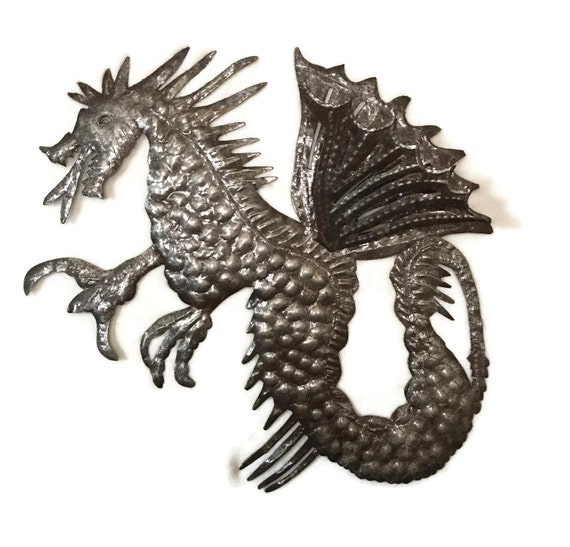 Dragon, Recycled, Haitian Metal Wall Art