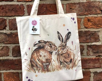 Spring hares cotton tote bag