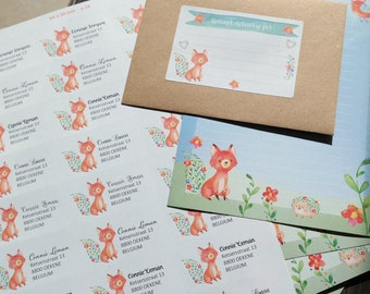 Joyful Fox - 24 Return Address labels (stickers)