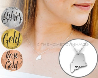 Maine Necklace - Maine map Necklace, State of Maine, I Heart Maine