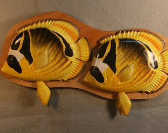 Raccoon Butterfly fish woodcarving,fish carving.wall mount,
