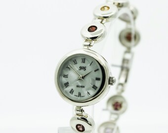 An Unusual  Silver Ladies Watch  Set With Various Stones   SKU 853