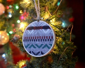 Embroidery Hoop Grey Sweater Ornament