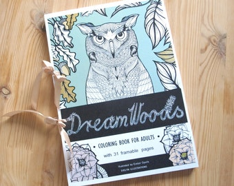 Fall Coloring Book with 31 Pages, Forest Animals and Floral Drawings, Dream Woods Coloring Book For Adults