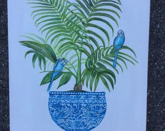 Chinoserie Tropical Plants orginal painting