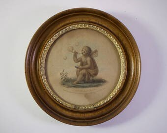 Antique Georgian Cupid Blowing Bubbles framed print, published 1808