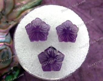 Amethyst Flower Beads, 10 to 16mm Semi Precious Stone Amethyst Beads, Hand Carved Amethyst Flower Pendants, Amethyst Pendants GEM-014-1