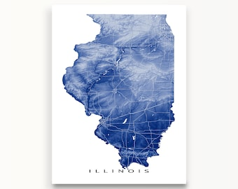 Illinois Map, Illinois Art Print, USA State Outline Maps, Chicago