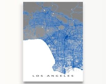 Los Angeles Map Art Print, LA Map Poster, Los Angeles California, LA Art