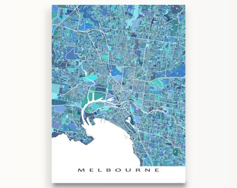 Melbourne Map Print, Melbourne Australia, City Art Poster