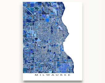 Milwaukee Map, Milwaukee Wisconsin USA, City Map Art Print