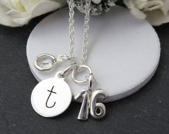 Sterling Silver 16th Birthday Charm Necklace with Birthstone, Personalised Initial Charm Necklace, 16th Birthday Gift