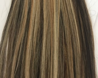 Blonde&Brown Mix-100% Human Hair Flip-in(Halo style) extension