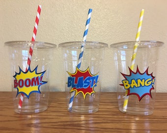 Superhero Party Cups, Super Hero Birthday Party Cups,