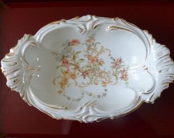 Altwasser porcelain dish. Carl Tielsch Silesia serving bowl circa 1900. CT Germany.