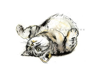Cat Painting, Tabby Cat Art Print,. Cat Drawing Sketch, Pastel Cat, Cat illustration, Tabby Cat Gifts,  Kitten, Cat Nursery Wall Art.