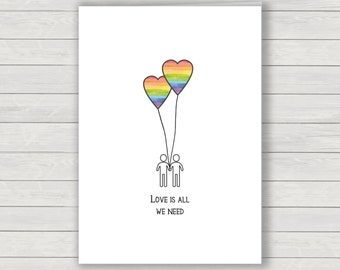 Rainbow Valentines Card, Gay Rainbow Balloon mans Valentines greetings card