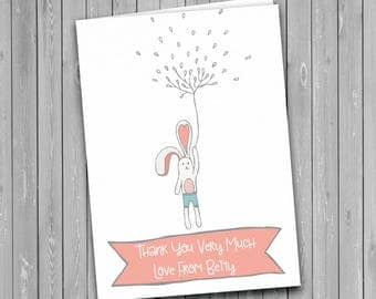 Personalised Thank You Card, birthday thank you card, child thank you card