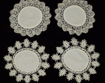 Superior Four Hand Made Small White Crochet Lace Tablecloth From The 60 70s