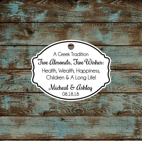 Greek Wedding Favor Tags, Jordan Almond Favor Tags, Sugared Almond Favor Tags, Five Wishes Poem Favor Tags #676 Qty: 30 Tags
