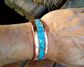 "Turquoise Inlay Copper Cuff Bracelet.  0.1"" X 0.78"" Thick and Wide."