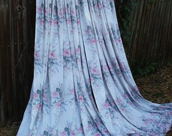 Shabby Chic Curtains/Curtains/Cabbage Roses/Cottage Chic/Ruffled Curtains/Cotton Curtains