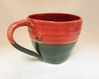 Medium Red and Green Stoneware Mug